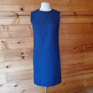 Vintage Unlabeled Blue Ribbed Shift Dress